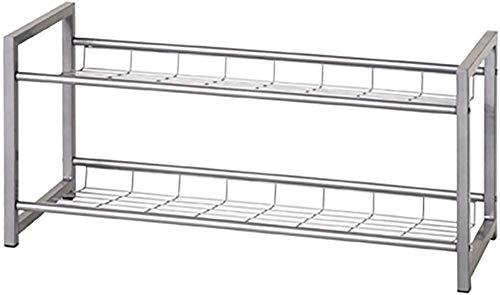 A-Generic Zapato ferroviario - Tubo de Acero aluoptik 2 Estante 8 Pares de Zapatos Ancho 80 cm