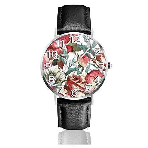 Blooming Peony Rose Flower Leather Watch Relojes de Pulsera de Moda Un