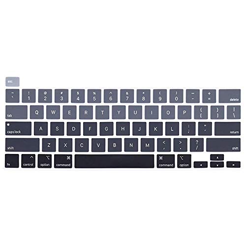 ProElife Ultra Thin Silicone Keyboard Cover Skin for MacBook Pro 13'' 13 Inch Early 2020 (A2289/A2251) and 2019 MacBook Pro 16 Inch (A2141) with Touch ID U.S Layout Accessories Protector (Ombre Gray)