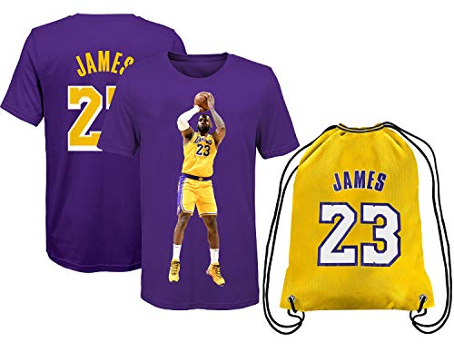 Lebron Jersey Style James Away T-Shirt Kids Basketball Gift Set Youth Sizes Bonus Basketball Bag (YS 6-8 Years Old, James Purple)