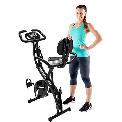 Folding exercise bike with LCD Display,3 in1 folding exercise bike,Exerpeutic folding magnetic upright exercise bike with pulse, Suitable for indoor sports