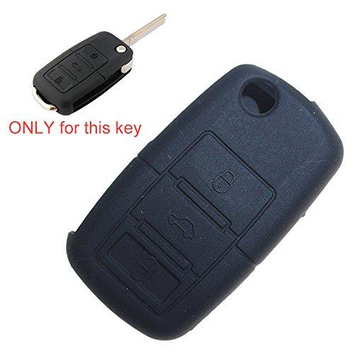 tuqiang® 1pc Noir 3 touches clé plip coque clé clés silicone Key Case Cover Clés de Voiture for VW Golf Polo TOURAN PASSAT