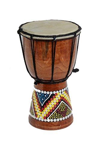 Tambour Djembe peint - Tambour Bongo de l'Afrique de l'Ouest (Hauteur: 30cm)