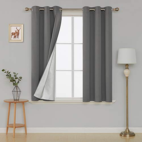 Deconovo Thermal Insulated Blackout Curtains with Silver Coating Grommet Top Decorative Drapery Drapes for Sliding Glass Door 42W x 54L Inch Light Grey 2 Panels