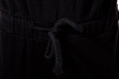 Aro Lora Women's One-shoulder Casual Wear Ripped Sport Jumpsuits Rompers Medium Black