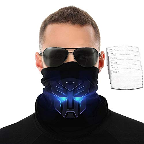 VOROY Trans-Formers Dece-Pticons Diadema con 6 filtros para protección facial para correr, calentador de cuello negro para niñas 9.8 x 19.7 cm