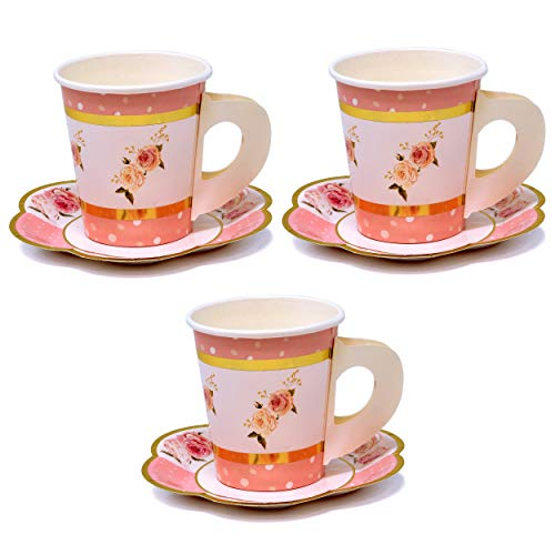 36 Disposable Tea Party Cups 5 oz 3' 36 Saucers 5' Paper Floral Shaped Plate Teacup Set with Handle for Kids Girls Mom Coffee Mugs Wedding Birthday Baby Bridal Shower Gold Foil & Pink Table Supplies