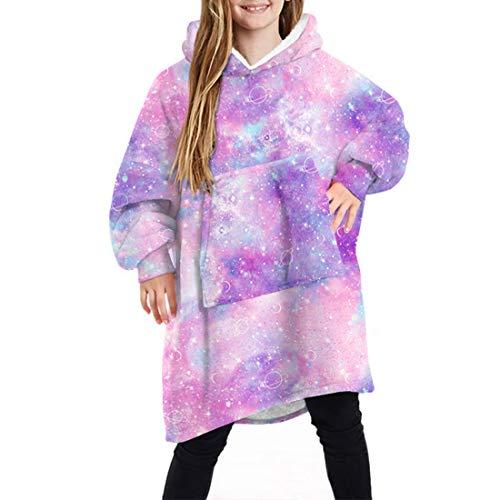 wenyujh Hoodie Kinder Decke Poncho Sweatshirt mit Kapuzenpullover warm Decke Kapuzenhandtuch für Jungen Mädchen(A-7#,One Size)