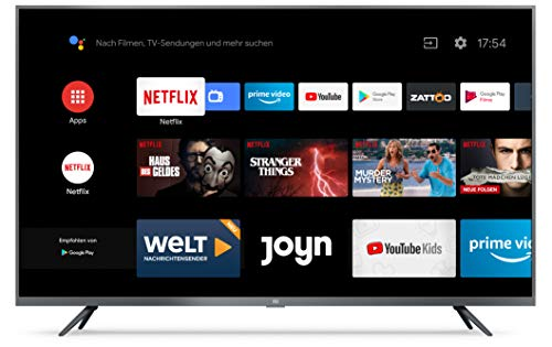 Xiaomi Mi Smart TV 4S 43 Zoll (4K Ultra HD, Triple Tuner, Android TV 9.0, Fernbedienung mit Mikrofon, Amazon Prime Video und Netflix)