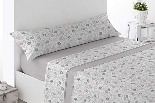 Energy Colors Textil-Hogar - Delfy - Juego Sábanas Completo Estampadas (Gris, 150_x_200_cm)