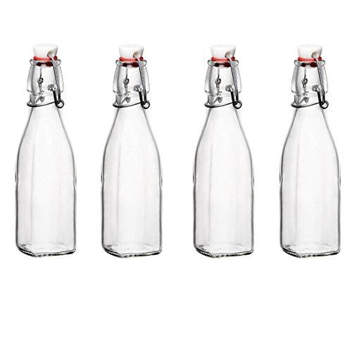 Bormioli Rocco Glasflaschen mit Bügelverschluss, 240 ml, 4 Stück