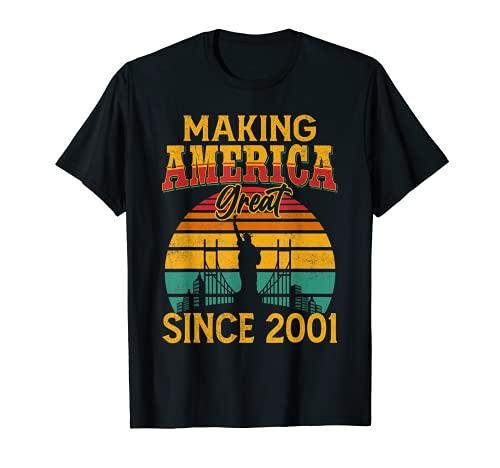 Retro 2001 Bandera Americana Vintage 20 Cumpleaños 20 Años Camiseta