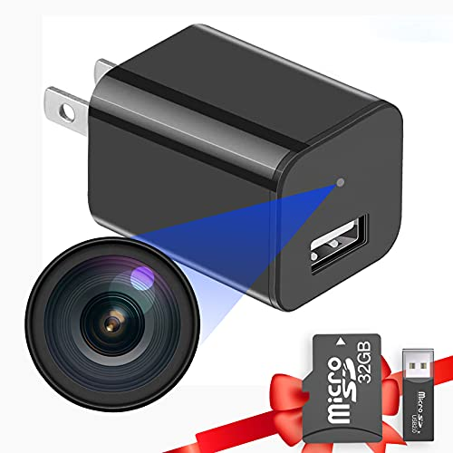 Buloge Hidden Mini Spy Camera Built-in SD Card 32gb,Micro Nanny Cam,Tiny Secret Surveillance Wireless Camera,Small USB Charge Cameras With Full HD 1080P Video,Camaras Espias,Spy Cams Gadgets Equipment