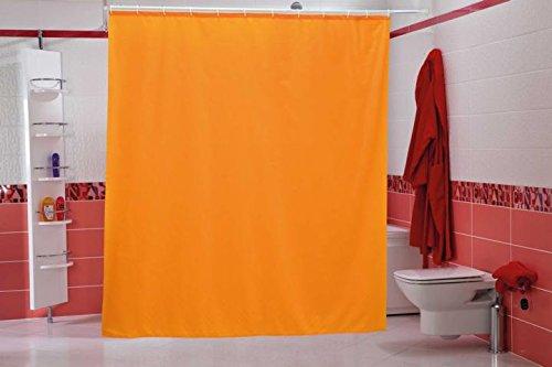 wohnideenshop Duschvorhang Uni orange 120cm breit x 200cm lang Textil inkl. Ringe