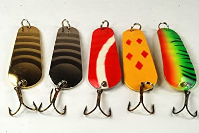 Akuna Pack of 5 Cast Blast 3 inch Ribbed Casting Spoon Fishing Lure