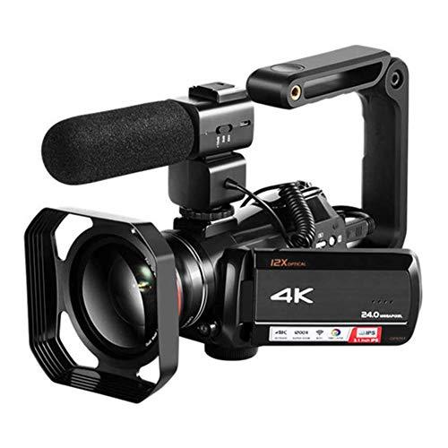 Aijin 4K-Digitalkamera, WiFi Zoom optische 12-Fach professionelle Aufnahme mit Weitwinkel-Mikrofon, DV-Kamera 24MP Zeitrafferaufnahmen + 0.39X Objektiv