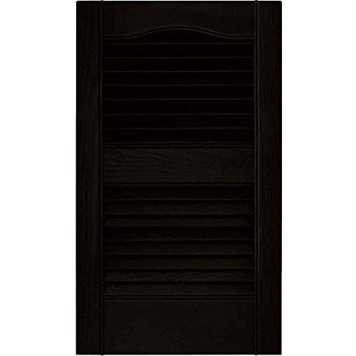 Ekena Millwork 12 in. Vinyl Louvered Shutters in Black - Set of 2 (12 in. W x 1 in. D x 31 in. H (3.26 lbs.))