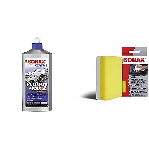 SONAX Xtreme Polish+Wax 2 Hybrid NPT (500 ml) schonende Politur mit mittlerer Wirkung für regelmäßig gepflegte Lacke & ApplikationsSchwamm (1 Stück) zum Auftragen und Verarbeiten von Polituren etc.
