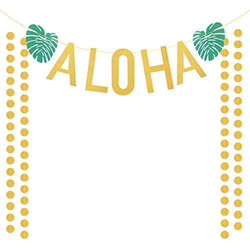 ZERHOK Aloha Hawaii Party Banner Deko, Glitzernd Willkommen Girlande mit 4Stk Gold Runde Ketten Palmen Tropischen Luau Thema Party für Strand Pool Sommer
