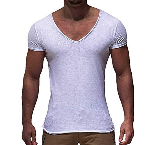 Camiseta de manga corta con cuello en V, para hombre, entallada