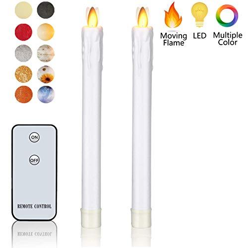 LED-Kerzen aus echtem Wachs, flammenlose Kerzen, bewegliche Flamme, batteriebetrieben, mit Fernbedienung, elektrisches Kerzenlicht, Wachs, Weiß tropfend H22,9 x D1, Taper Candle 2Pack
