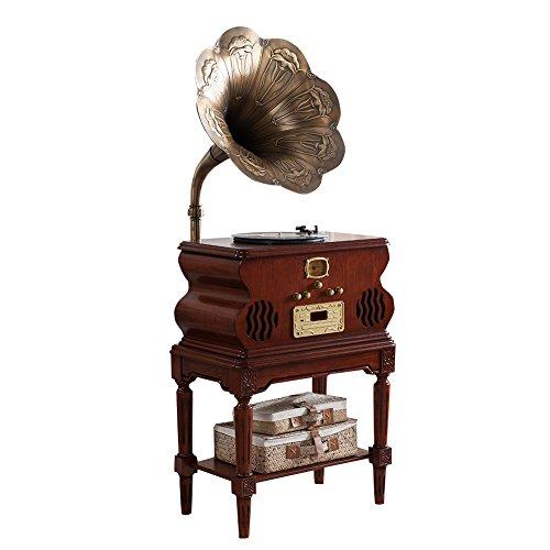 Sitang Bocina de gramófono grande tocadiscos de madera retro gramófono cosecha MLG1688A
