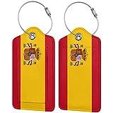 2 etiquetas de equipaje, etiquetas de cuero de la PU de la cubierta de privacidad etiqueta de identificación con lazo de acero inoxidable para la maleta de viaje bandera de España