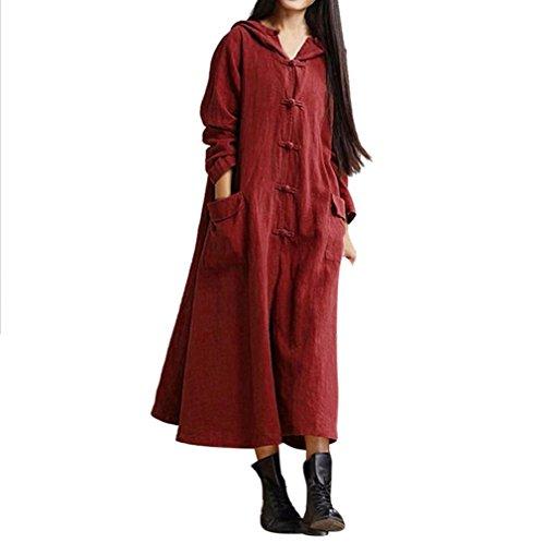 NPRADLA 2018 Damen Kleider Elegant Herbst Lang Langarm Mantel Jacke beiläufige lose Lange Maxi Kleid Festlich