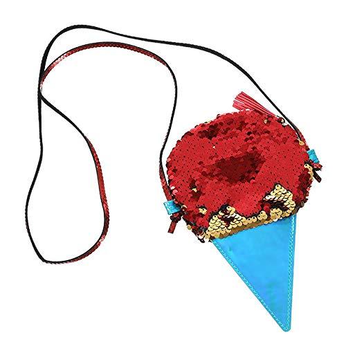 Unbekannt YZJH Cartoon Form Kinder Pailletten Geldbörse Tasche Sling Geldbörse Baby Mädchen Brieftasche Taschen Beutel Für Kinder Geschenke, EIS Rot