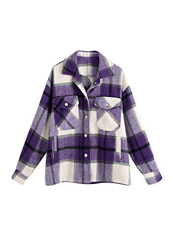 Yming Camisa a cuadros de manga larga para mujer, estilo urbano, F-violeta., XXL