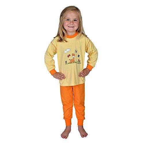 Wörner Südfrottier Pyjama 2 pièces pour bébé fille - Motif girafe - Jaune - Taille 74-116