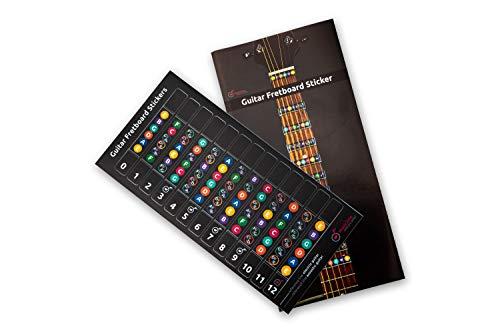 Pegatinas de notas para guitarra, incluye diagrama con escaleras mayores y menores y triadas