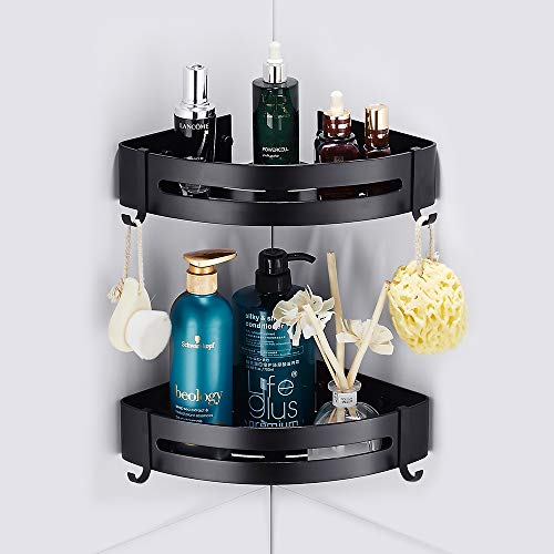Estantes Ducha, Bogeer Estanteria ducha esquina pared para baño sin Taladro, Pegamento Patentado, Aluminio Estante de baño (Doble Negro)