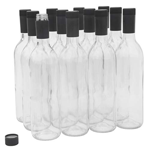 North Mountain Supply 750ml Glass Bordeaux Wine Bottles with Twist-N-Seal Capsules - Case of 12 (Clear/Flint)