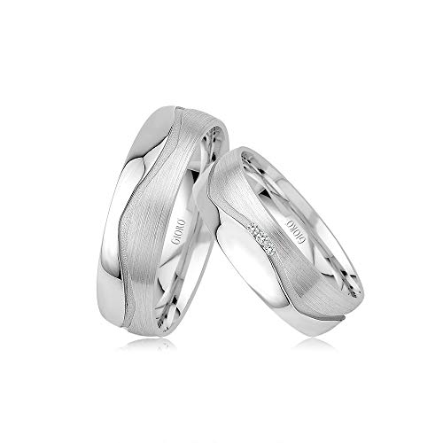 Gioro Alice 10 Trouwringen, verlovingsringen, vriendschapsringen, 925 zilver, met de hand gezette Swarovski-stenen, set partnerringen, zilver, witgoud, platina-look, ringpaar bruiloftsringen