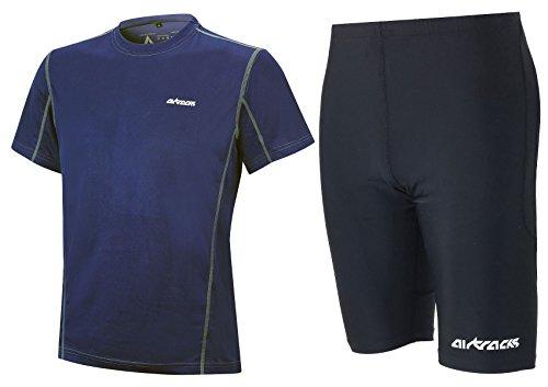 Airtracks Ensemble de course fonctionnel avec short de course Pro Air + t-shirt de course à manches courtes Pro Air / respirant / séchage rapide M bleu
