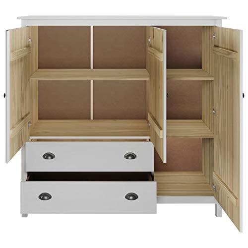 Ausla Armadio guardaroba con 3 ante e 2 cassetti, 142 x 45 x 137 cm, in legno di pino, armadio per camera da letto, bianco
