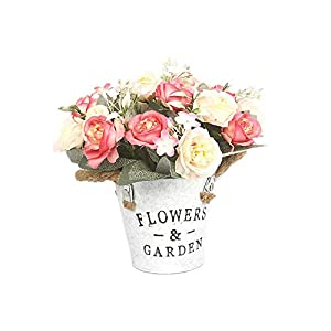 Aimili Artificial Flowers, Exquisite Hibiscus Rose Artificial Flowers, Exquisite Crafts, Decorative Desktop Ornaments,Pink