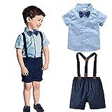 I3CKIZCE Traje de verano de 2 piezas para bebé, niño, camiseta de manga corta con corbata + pantalones cortos con tirantes, traje de caballero para recién nacidos, bautizos, 0-7 años azul 4- 5 años