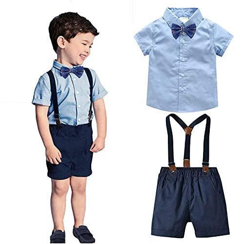 I3CKIZCE 2 Teilig Baby kleinkind Jungen Sommer Anzug Kurzarm-T-Shirt mit Krawatte + Kurze Hose mit Träger Gentleman kinderanzug Hochzeitsset Neugeborenes Taufset 0-7 Jahre(Blau, 6-12 Monate