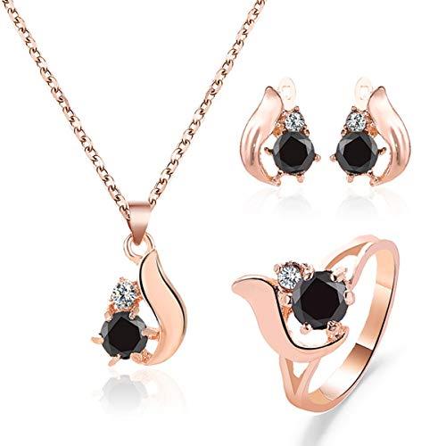 Greatangle-UK Conjunto de Anillo de Collar de Pendiente de Gota de obsidiana Temperamento