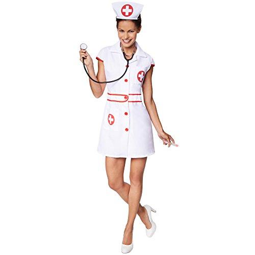 TecTake dressforfun Frauenkostüm sexy Krankenschwester   Aufgedrucktes, rotes Kreuz   Vorne mit Knöpfen   Inkl. Haarreifen (M   Nr. 301504)