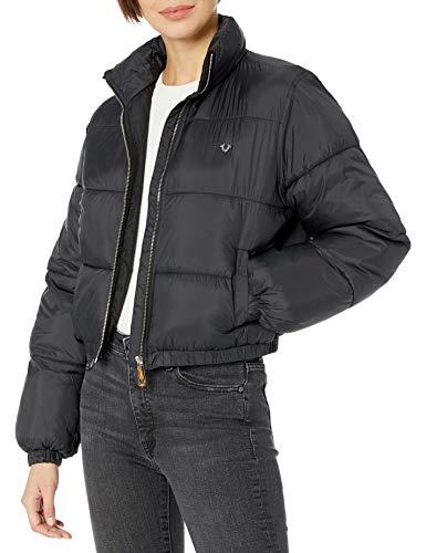 True Religion Damen Logo Puffer Long Sleeve Jacket Parka, schwarz, X-Large