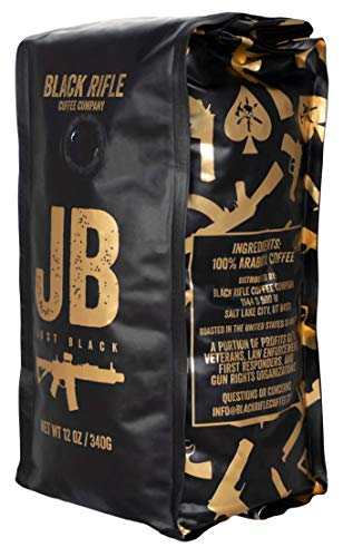 Whole Bean Coffee by Black Rifle Coffee Company | Dark Roast, Medium Roast, French Roast, Espresso, Black | Coffee Lovers Gift and Man Crate Addition (Just Black (Medium Roast), 12 Ounce)