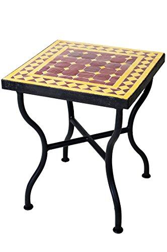 ORIGINAL Marokkanischer Mosaiktisch Gartentisch 40x40cm Groß eckig | Eckiger Mosaik Esstisch Mediterran | als Tisch für Balkon oder Garten | Marrakesch Bordeaux Gelb 40x40cm