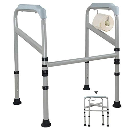 AXD Toilet Safety Rail, Non-Slip Foldable Toilet Surround Frame, for Elderly Disabled, Adjustable Length with Floor Fixing Feet