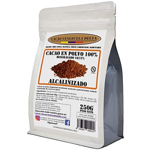 Cacao en Polvo Puro 100% - Tipo Alcalinizado - Desgrasado 10-12% - Bolsa 250g - Cacao Venezuela Delta