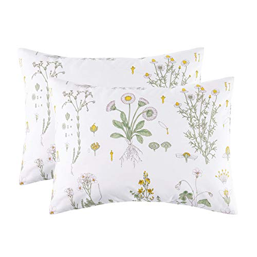 Wake In Cloud - Pack of 2 Pillow Cases, 100% Cotton Pillowcases, White with Yellow Botanical Flowers...