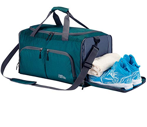 CoCoMall Foldable Sports Gym Bag with Shoes Compartment & Wet Pocket, 45L Travel Duffel Bag for Men and Women (Dark Green)