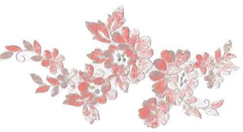 Applique en dentelle à sequins Rose Motif floral